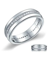 Men's Wedding Band Sterling Silver Created Diamond Ring 14k White Gold F... - $52.04