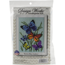 "Design Works Needlepoint Kit 5""X7""-Butterflies Galore-Stitched In Yarn - $23.00"