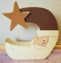 Christmas Carved Wood Santa Claus Quarter Moon Shelf Mantel Table Decor FS - $14.84