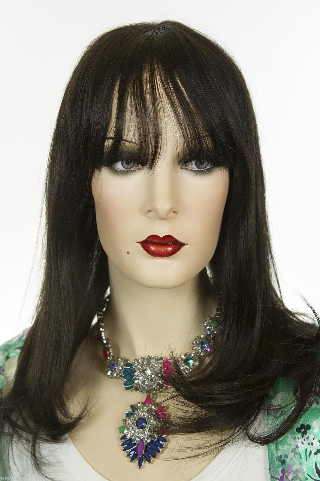 Darkest Brown Brunette Medium Premium Remy Human Hair Monofilament Straight Wigs - $288.30