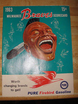 1963 MILWAUKEE BRAVES SCORECARD,MLB,48YR OLD FLIER,FIREBIRD GASOLINE ADV... - $52.25