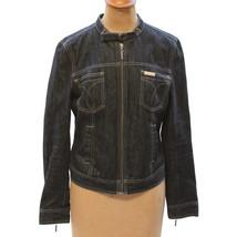 Vintage 1990s Calvin Klein Womens Denim Jean Jacket Military Collar Hong... - $42.08