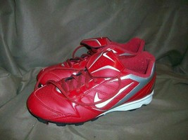 (USED/WORN) NIKE CHILD SIZE 4.5 Y CLEATS SHOES RED SILVER - $29.69