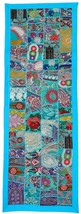 Embroidered Wall Hanging Vintage Patchwork Tapestry Throw Runner Turquoi... - £26.49 GBP