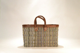 Hand woven market basket. Medium. Blue/Natural Stripe.  - $46.00