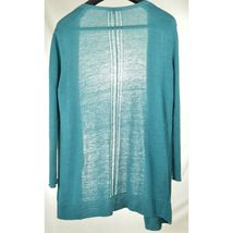 Eileen Fisher sweater cardigan SZ L teal 100% linen knit pockets soft long s image 5