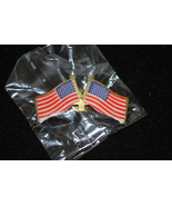 Metal American Flag Lapel Pins with Two Flags (Buy One Pin Get One Free)... - $1.50