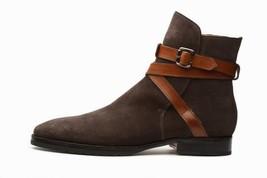 Handmade Men's Dark Brown Jodhpur Monk Strap High Ankle Suede Boots image 1