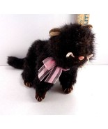 Halloween Ty Black Cat Heiress Pink Bow Plush Stuffed Animal Toy Doll - $5.93