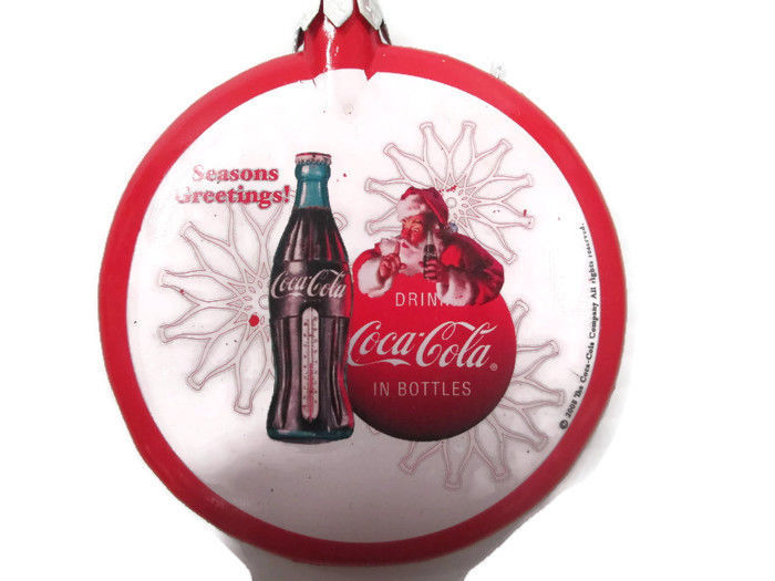 "Primary image for Coca-Cola Santa Thermometer Bottle Christmas Ornament ""Season's Greetings"""