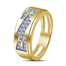 925 Sterling Silver 14k Yellow Gold Filled Round White CZ Engagement Band Ring - $78.99