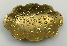 "Vintage Mid Century WEEPING BRIGHT GOLD 22K Dish 6.5"" Long USA Hand Deco... - $9.74"