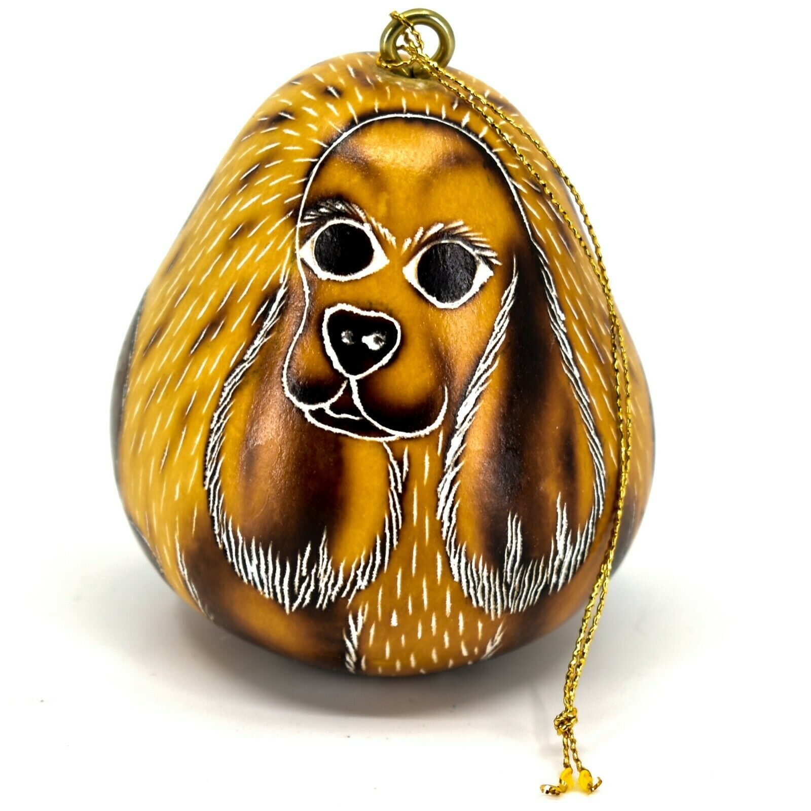 Handcrafted Carved Gourd Art Cocker Spaniel Puppy Dog Ornament Handmade in Peru
