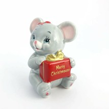 Vintage Russ Christmas Mouse Present Small Collectible Figurine 1068 - $12.40