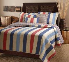 Denin Blue Multicolor Austin Stripe Quilt Bedspread Bedding Collection - $21.99+