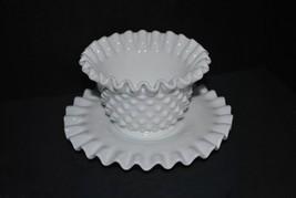 Vintage Fenton Ruffled Hobnail Milk Glass Mayonnaise Bowl and Plate - $28.04