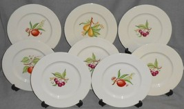 Set (8) Castleton China FRUITS PATTERN Salad/Luncheon Plates MADE IN USA - $55.43