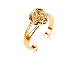 9ct Solid Yellow GOLD Flower Rose Toe Ring - $79.20