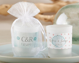 Personalized Seashell Summer Beach Glass Candle Votive Bridal Wedding Favor - $85.45+
