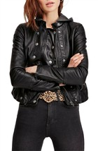 Free People New Dawn Hooded VEGAN Leather Black Jacket Size XS - $168 - NWT - $68.59