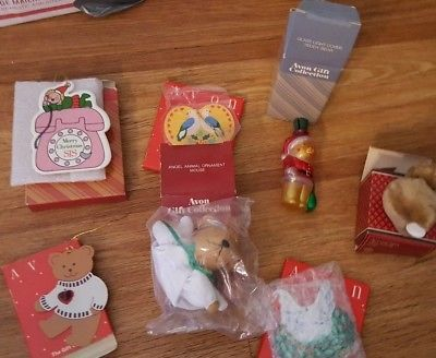 LOT OF 7 VINTAGE AVON CHRISTMAS ORNAMENTS All  In Box Assorted