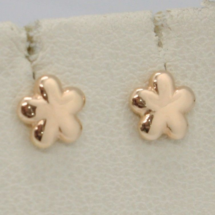SOLID 18K ROSE GOLD EARRINGS FLAT FLOWER DAISY SHINY, SMOOTH 6 MM, MADE IN ITALY