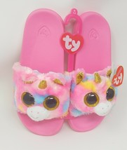 Girls Unicorn Slippers Ty Beanie Babies Shoes Fantasia Plush Slides Pink... - $24.75