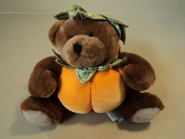 Standard Stuffed Pumpkin Bear 8-in Orange/Brown/Green Soft Polyester Fiber - £6.72 GBP