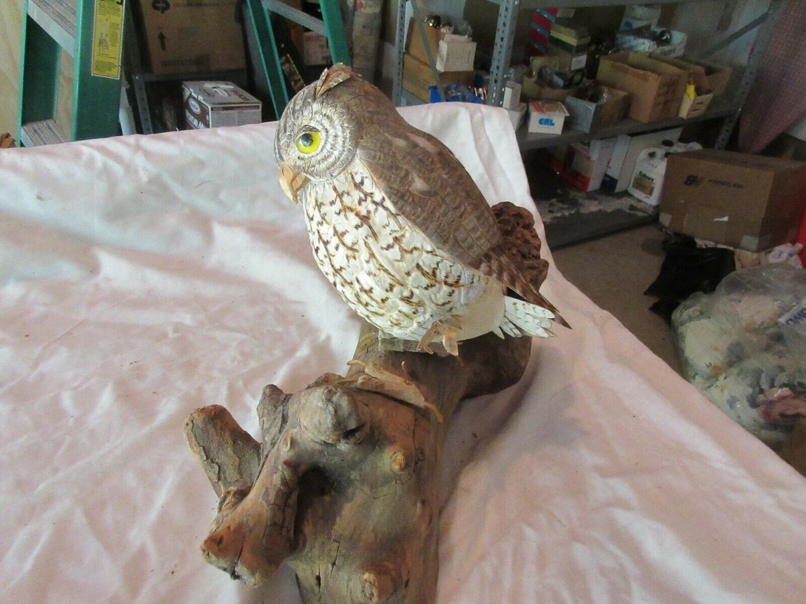"Sorecca Owl , 11"" X 4"" X 10""  , Vintage , Owl On Wood Branch , Sculpture"