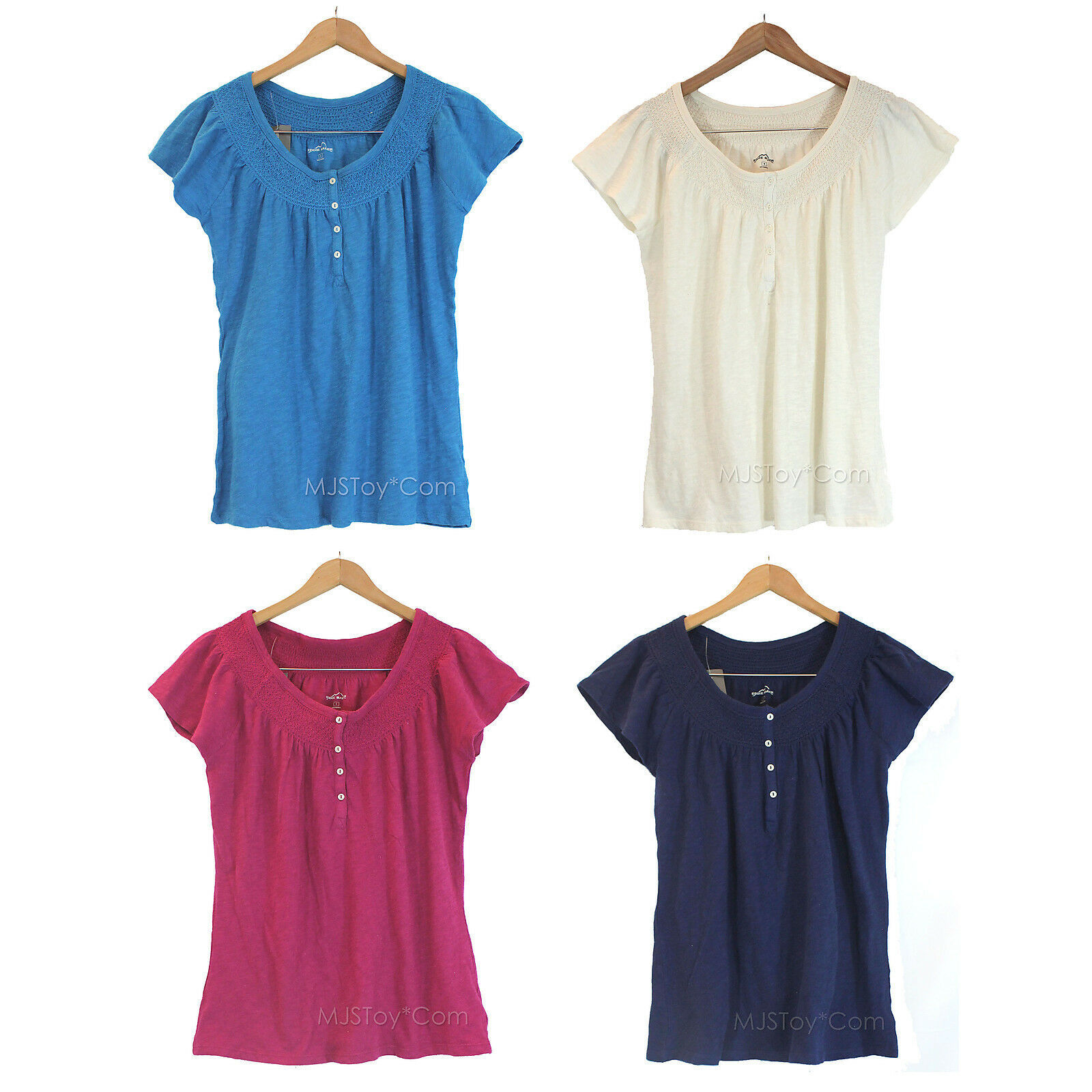 NWT Eddie Bauer Peasant Blouse Top Short Sleeve Shirt 100% Soft Cotton 4 colors - $24.99