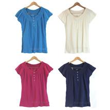 NWT Eddie Bauer Peasant Blouse Top Short Sleeve Shirt 100% Soft Cotton 4... - $24.99