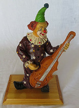 VTG Wood Figurine Clown Playing Music on a Wooden Base Carve Hand Made 1... - $45.00