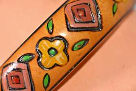 vintage hand painted wood floral bangle bracelet flower - $9.89