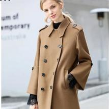 Women English Vintage Winter Solid Double Breasted Cloak 100% Wool Trench Coat image 1