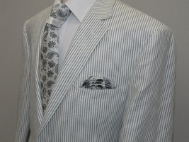 Mens Renoir  All  Linen Summer Suit Pin Stripe Light Notch Lapel  606-6 ... - $114.75
