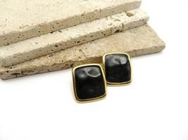Vintage Monet Chunky Black Waved Enamel Gold Tone Square Clip On Earring... - $16.99
