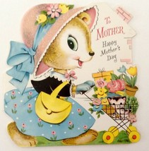 Unused Vintage Card Volland Mother's Day to Mother Bear Kitten Die Cut - $12.86