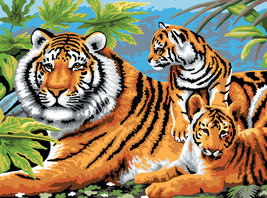 """Junior Large Paint By Number Kit 15.25""""X11.25""""-Tiger & Cubs  - $11.99"""