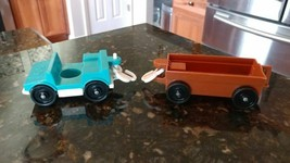 Vintage 1984 Fisher Price Little People #916 ZOO TRAM Blue Car Parts - $10.99