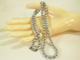 STEEL GRAY Faux Pearl Necklace Strand Classic Hand Knotted String Vintag... - $14.84