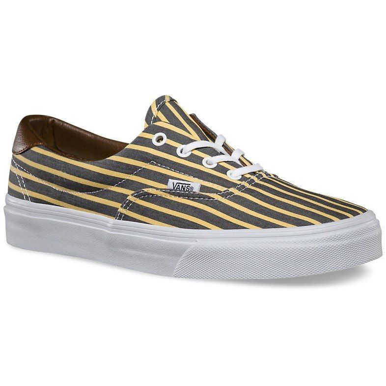 VANS Era 59 (Stripes) Yellow/True White Skate Shoes WOMEN'S 5.5
