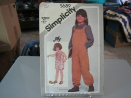 Simplicity 5689 Girl's Jumpsuit in 2 lengths Pattern - Size 6 Chest 25 W... - $8.90