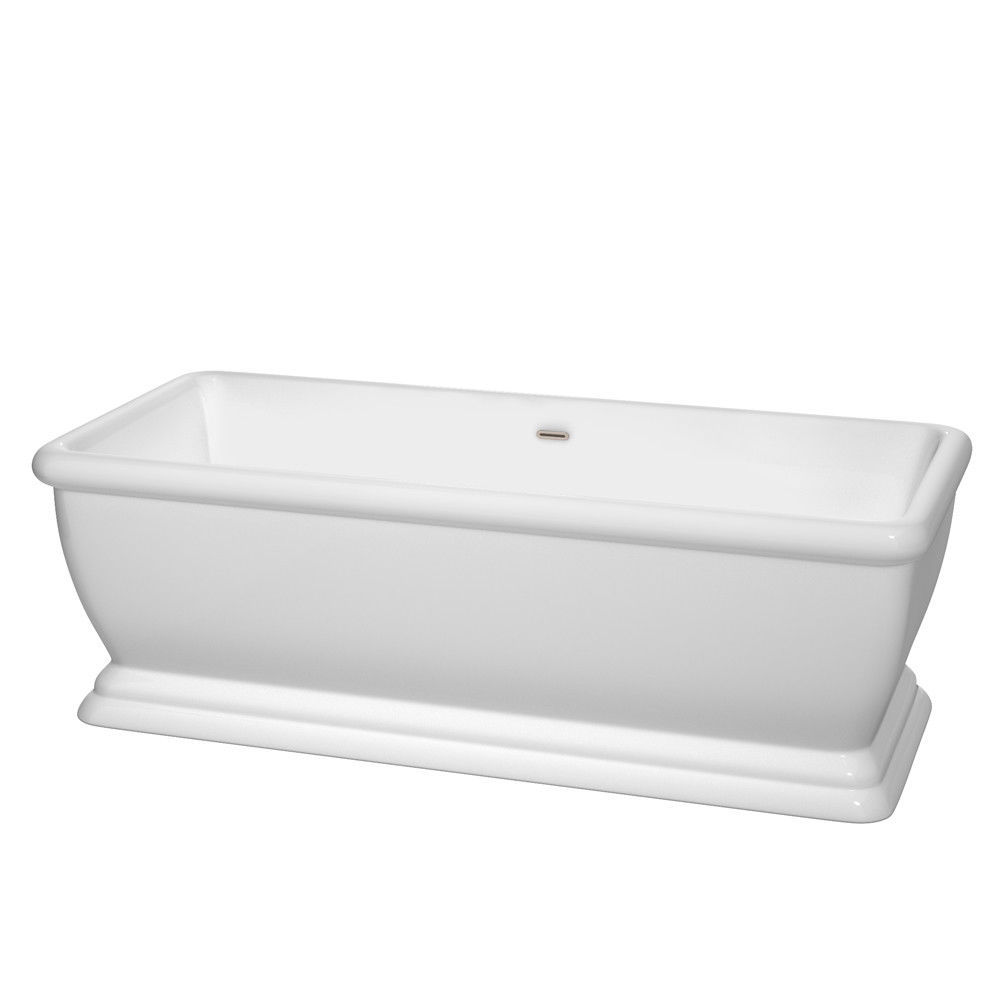 68 in Bathtub in White with Brushed Nickel Drain and Overflow Trim - $1,681.02