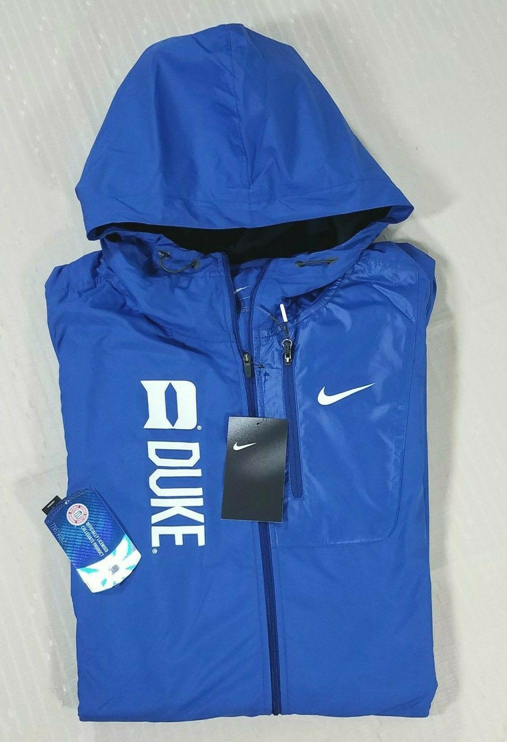 c611cf52 Nike Duke Blue Devils Packable Knee Length Hood Windbreaker Jacket Womens S  Blue