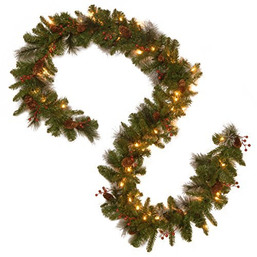 "National Tree 9' x 10"" Crestwood Spruce Garland with 50 Battery Operated Warm Wh"