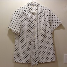 Ladies Short Sleeve Button Up White w Black Polka Dots Blouse