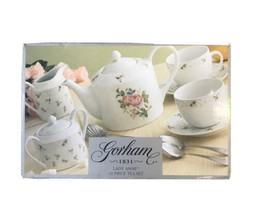 Gorham Lady Anne Teapot Sugar Bowl & Creamer Pink Rose 15 Piece Set Teaware Gift - $65.41
