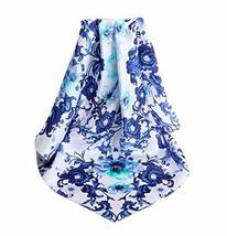 PANDA SUPERSTORE Blue and White Silk Scarf Women Shawl Elegant Scarves Scarves f