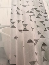 NEW Threshold FAUX SHIBORI Shower Curtain Blue Green Dot Geo Triangle - $13.49
