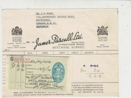 James Pascall Ltd HM Appointed 1954 Confectionary Sweets Stamp Receipt R... - $7.59